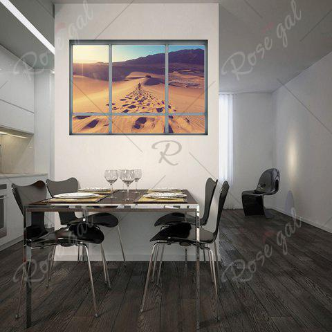 Shop Removable Vinyl Desert Landscape 3D Wall Sticker - 48.5*68CM BROWN Mobile