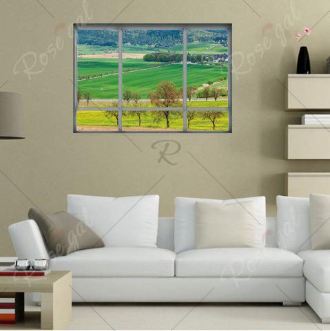 Outfits 3D Window Countryside View Vinyl Wall Art Sticker - 48.5*68CM GREEN Mobile