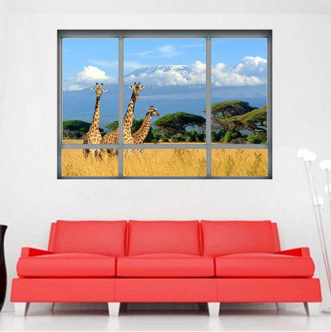 Outfits Savanna Giraffe 3D Window Removable Wall Sticker - 48.5*68CM COLORMIX Mobile