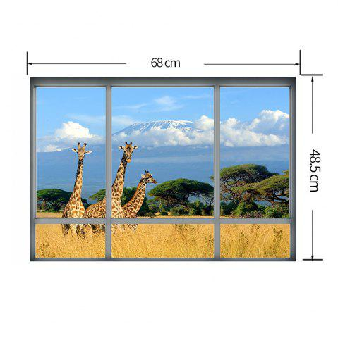 Chic Savanna Giraffe 3D Window Removable Wall Sticker - 48.5*68CM COLORMIX Mobile