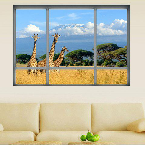 Fancy Savanna Giraffe 3D Window Removable Wall Sticker - 48.5*68CM COLORMIX Mobile