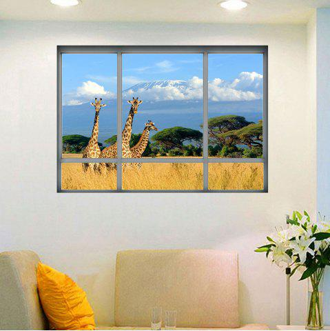 Shop Savanna Giraffe 3D Window Removable Wall Sticker - 48.5*68CM COLORMIX Mobile
