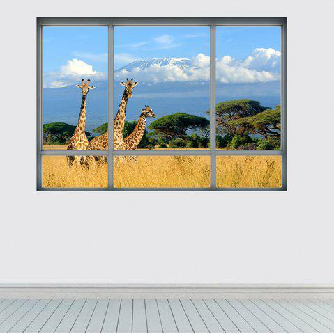 Trendy Savanna Giraffe 3D Window Removable Wall Sticker - 48.5*68CM COLORMIX Mobile