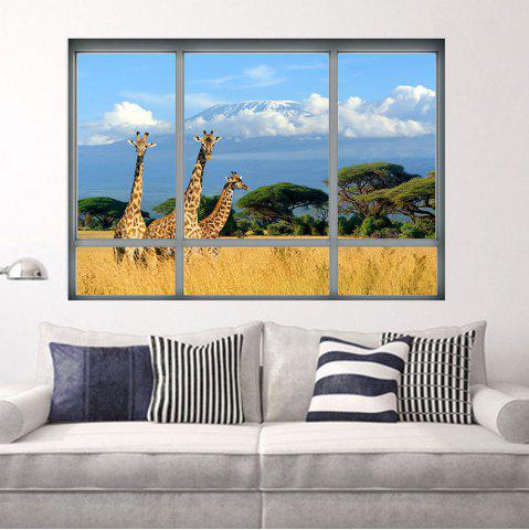 Hot Savanna Giraffe 3D Window Removable Wall Sticker - 48.5*68CM COLORMIX Mobile