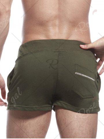Hot Pocket Graphic Print Drawstring Home Shorts - XL ARMY GREEN Mobile