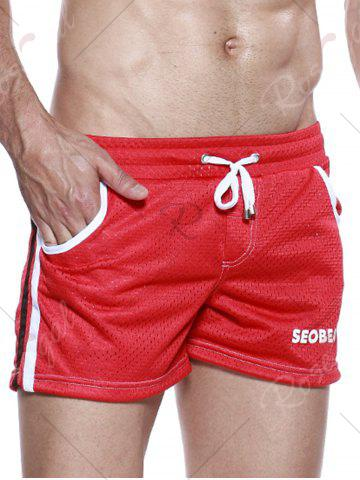 Trendy Graphic Print Drawstring Openwork Sport Shorts - XL RED Mobile