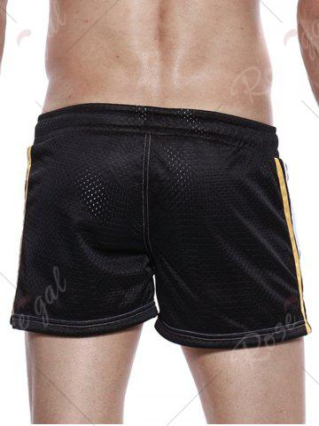Outfit Graphic Print Drawstring Openwork Sport Shorts - BLACK L Mobile