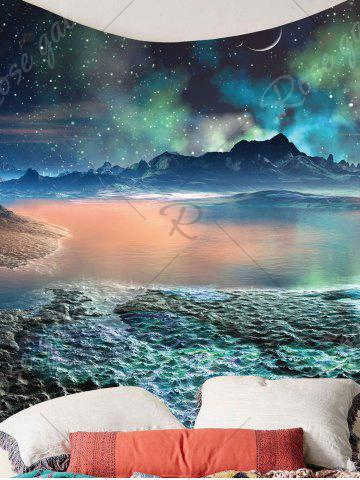 Fancy Moon Star Lake Mountain Wall Hanging Tapestry - W79 INCH * L59 INCH COLORFUL Mobile