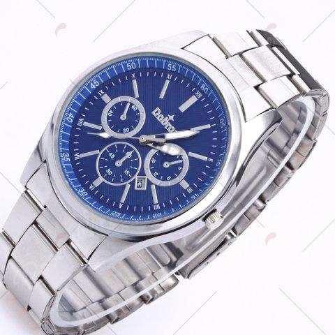 Affordable Alloy Strap Date Number Quartz Watch - SILVER AND BLUE  Mobile