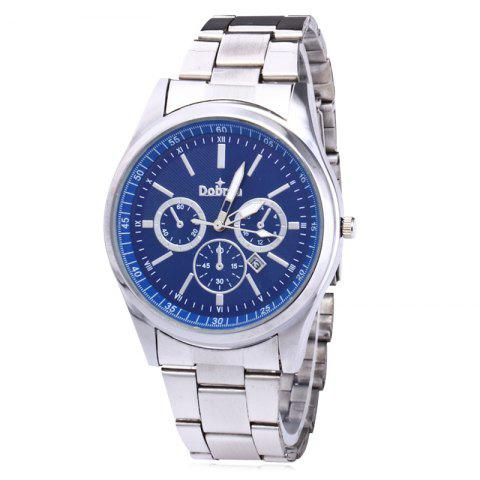 Outfit Alloy Strap Date Number Quartz Watch - SILVER AND BLUE  Mobile