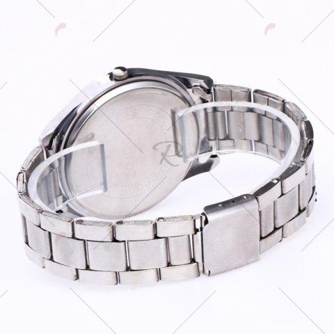 Discount Alloy Strap Date Number Quartz Watch - SILVER AND BLUE  Mobile