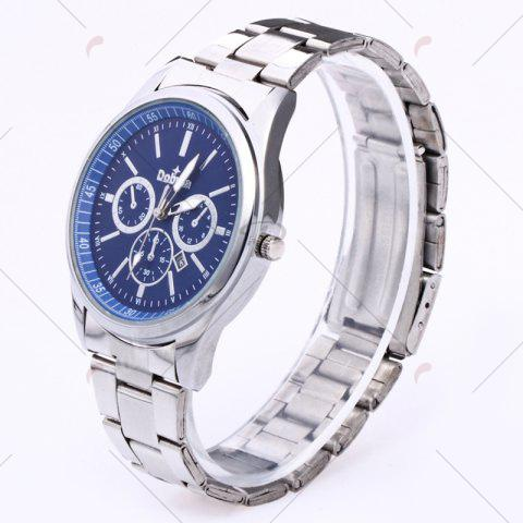Chic Alloy Strap Date Number Quartz Watch - SILVER AND BLUE  Mobile