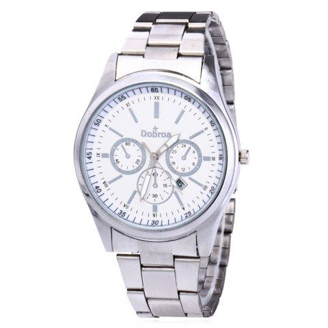 Hot Alloy Strap Date Number Quartz Watch - SILVER WHITE  Mobile