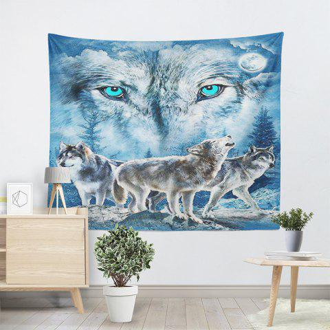 Chic Wall Hanging Snowy Night Wolves Tapestry - W59 INCH * L79 INCH BLUE Mobile