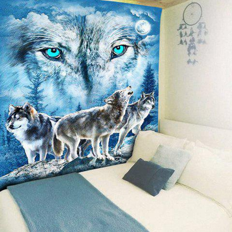 Outfit Wall Hanging Snowy Night Wolves Tapestry - W59 INCH * L79 INCH BLUE Mobile