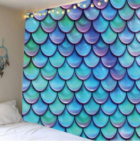 Mermaid Fish Scales Wall Hanging Tapestry - Light Blue - W79 Inch * L59 Inch