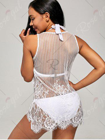 Unique See-Through Lace Cover Up Tank Top - S WHITE Mobile