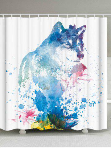 Bathroom Watercolor Wolf Shower Curtain with Hooks - White - W71 Inch * L79 Inch
