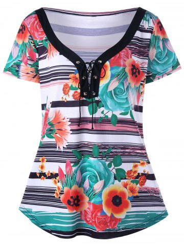 Plus Size Lace Up Floral Stripe T-Shirt - Colormix - 2xl