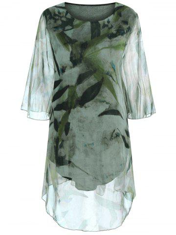 Plus Size Batwing Sleeve Printed Long Top - Light Green - 5xl