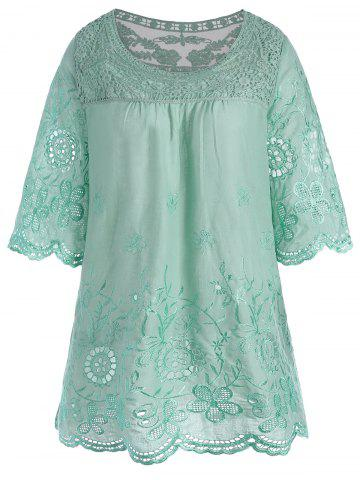 Embroidered Plus Size Tunic Top - Light Green - 2xl