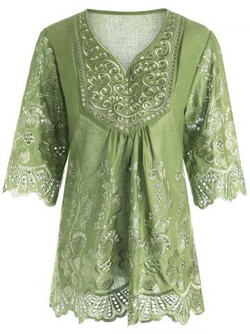 Plus Size V Neck Embroidered Blouse - Apple Green - 3xl