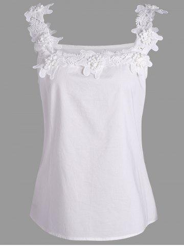 Chic Plus Size Stereo Floral Sleeveless Top WHITE 3XL