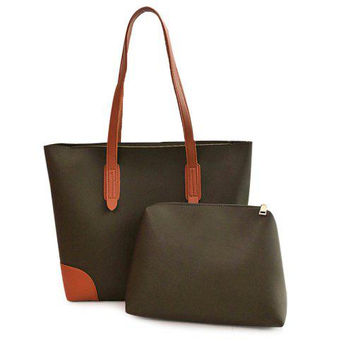 Faux Leather Shopper Bag with Clutch Bag - Green