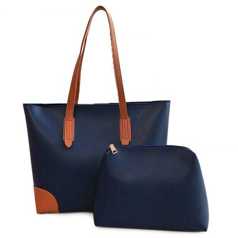 Faux Leather Shopper Bag with Clutch Bag - Blue