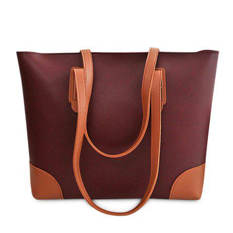 Faux Leather Shopper Bag avec embrayage Rouge vineux