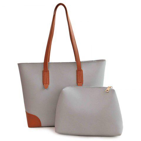 Outfits Faux Leather Shopper Bag with Clutch Bag GRAY