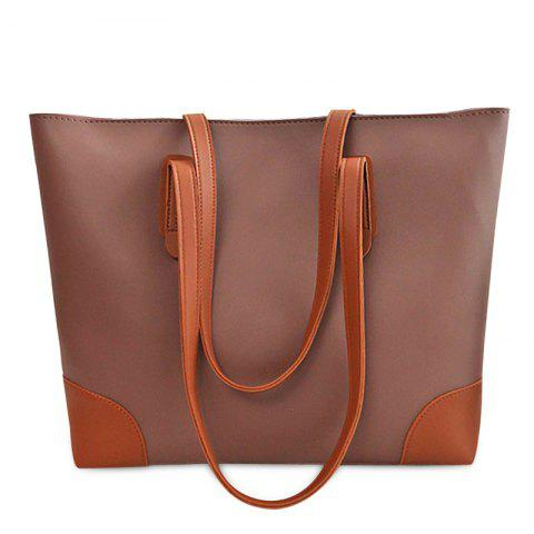 Shop Faux Leather Shopper Bag with Clutch Bag COFFEE