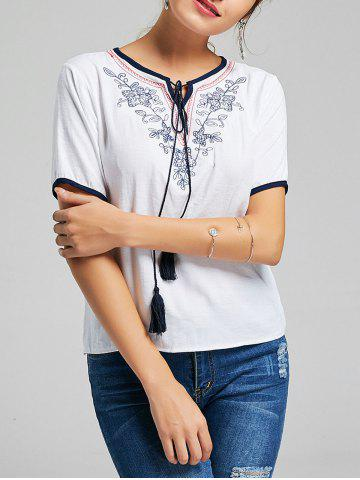 Short Sleeve Tassel Embroidered Top - White - 2xl