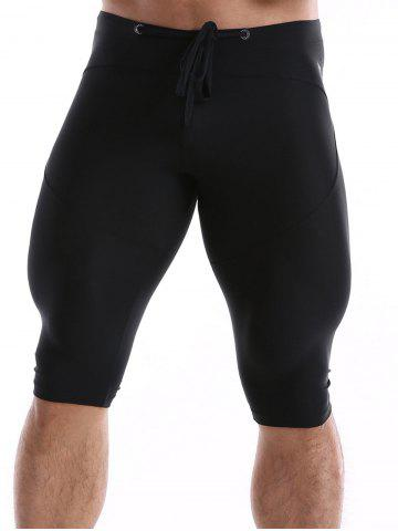 Best Drawstring Waist Tight Sport Shorts - XL BLACK Mobile