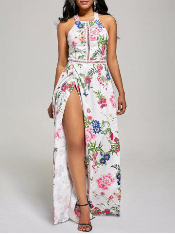 Affordable Maxi Floral Backless High Slit Beach Dress WHITE M
