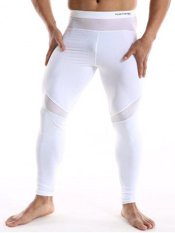 New Skinny Quick Dry Mesh Insert Sport Pants - XL WHITE Mobile
