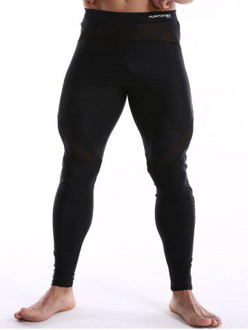 Unique Skinny Quick Dry Mesh Insert Sport Pants - XL BLACK Mobile