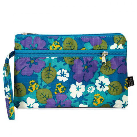 Unique Nylon Print Wristlet Pouch Bag BLUE