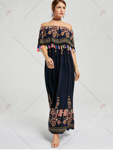 Trendy Tassel Off The Shoulder Maxi Boho Dress - M PURPLISH BLUE Mobile