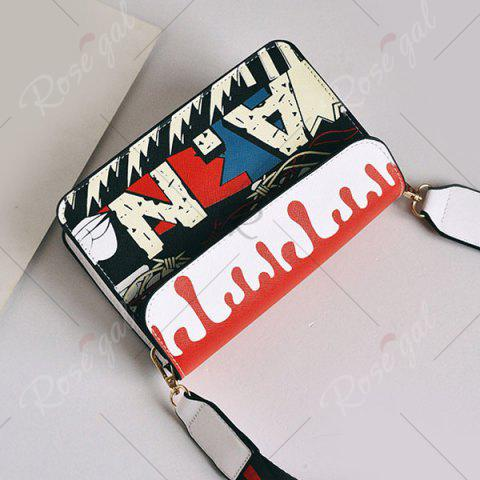 Trendy Wide Strap Doodle Crossbody Bag - WHITE  Mobile