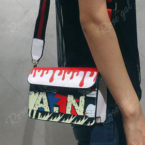 Discount Wide Strap Doodle Crossbody Bag - WHITE  Mobile