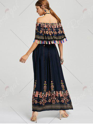 Online Tassel Off The Shoulder Maxi Boho Dress - XL PURPLISH BLUE Mobile