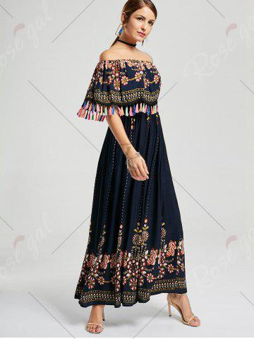 Sale Tassel Off The Shoulder Maxi Boho Dress - XL PURPLISH BLUE Mobile