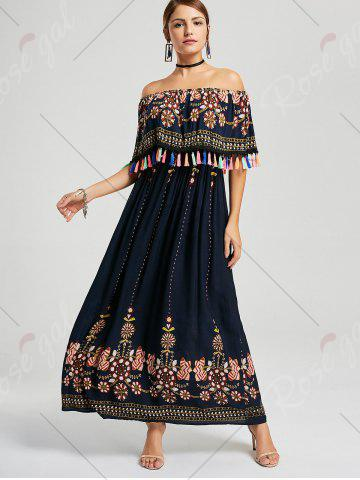 Trendy Tassel Off The Shoulder Maxi Boho Dress - XL PURPLISH BLUE Mobile