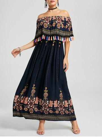 Fancy Tassel Off The Shoulder Maxi Boho Dress - XL PURPLISH BLUE Mobile