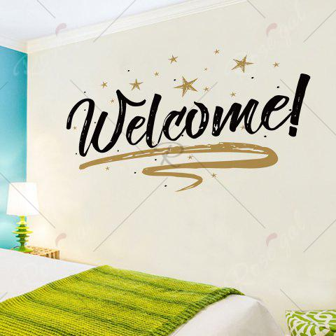 Discount Welcome Letter Shop Door Removable Wall Sticker - 57*38CM BLACK Mobile