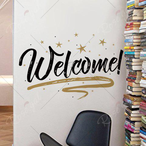 Chic Welcome Letter Shop Door Removable Wall Sticker - 57*38CM BLACK Mobile