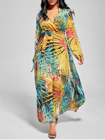 Shops Chiffon V Neck Maxi Dress with Sleeves