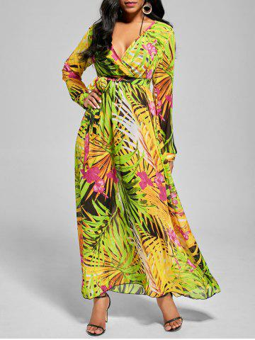 Best Chiffon V Neck Maxi Dress with Sleeves GREEN S