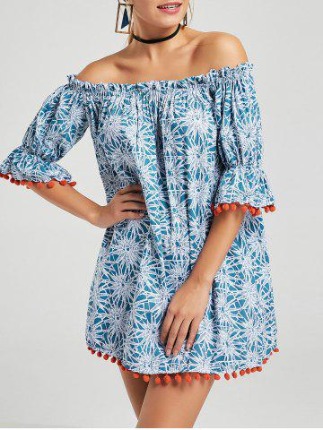 Printed Off The Shoulder Mini Shift Dress - Blue - M